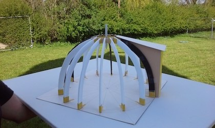 Scale model of glulam dome