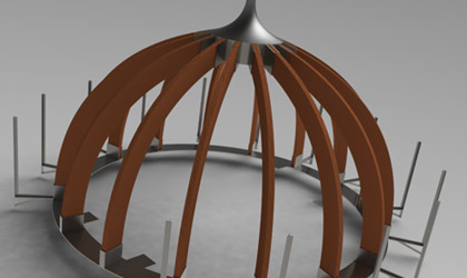 3D model of glulam dome